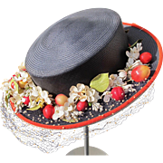 Vintage Hand Navy Straw Hat with Fruit in Bright Colors