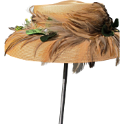 Straw Hat with Feathers 1950's Clean Fun