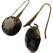 Sterling Silver Earrings Gold Overlay With Faceted Smokey Quartz Topaz