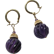 14K Gold Earrings with Carved Amethysts