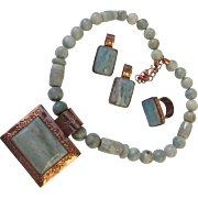 Necklace Ring and Earrings of Jade Color Stones and Copper Set