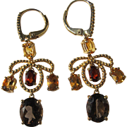 Chandelier Style Earrings Citrine Garnet Topaz Gemstones Sterling Silver Gold Plated