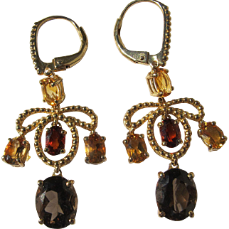 Chandelier Style Earrings Citrine Garnet Topaz Gemstones Sterling Silver Gold Plated