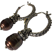 Sterling Silver Earrings with Chocolate Pearls 10mm Marked 925