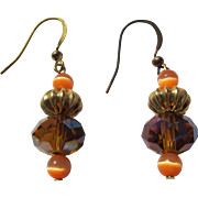 Earrings of Orange Sapphires Crystal and Gold Beads 1980's Italian