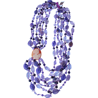 Cameo Stone Necklace of Glass beads and Amethyst Quartz Shell Cameo