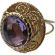 Amethyst Ring 14K Gold Faceted Gemstone