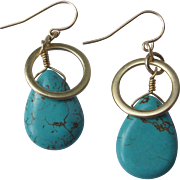 Turquoise Earrings Authentic Stones Goldtone Hardware