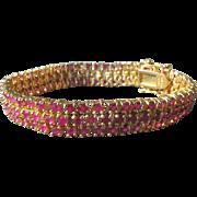 Ruby Tennis Bracelet Sterling with Gold Overlay Ruby Gemstones