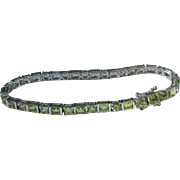 Sterling Silver Bracelet with Green Peridots
