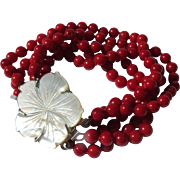 Bracelet in Red Coral Color Multi Strand Beaded Bracelet with Mother of Pearl Flower