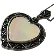 Heart Necklace Mother of Pearl and Black Stones Never Worn With Label