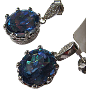 Rainbow Gemstone Earrings with Diamonds and Sterling Silver Filigree