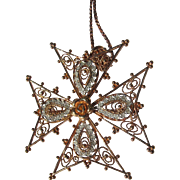 Sterling Silver Pendant and Necklace with Copper Finish Chain Filigree