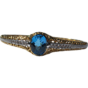 Blue Topaz Bracelet of Sterling Silver Gold Overlay and Diamonds