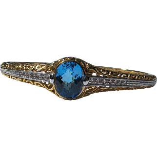 Blue Topaz Bracelet of Sterling Silver Gold Overlay and Diamonds