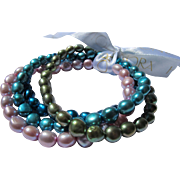 Cultured Pearl Bracelets by Honora Four Summer Colors Turquoise Pink Green Aqua
