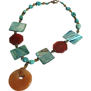Turquoise Beaded Necklace Chunky Shells and Glass Stones 1980s Vintage Necklace