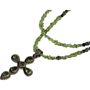 Peridot Necklace Cross in Sterling Silver Vintage 1980's