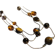 Necklace Glass Beaded and Tigereye Stones Unused on Gold Color Chain