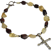 Citrine Cross Necklace in Sterling Silver Stone 1980s Marked 925