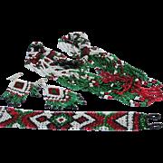 Indian Beaded Necklace Bracelet Earrings Vintage Set 1980s Red White Green Black