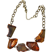 Stone Necklace with Glass Look of Mexican Fire Opals Vintage Chain Agate Stone Necklace