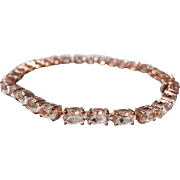 Tennis Bracelet 925 Sterling in Rose Gold Color Pink Stones