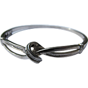 Bangle Bracelet in Sterling Silver with Diamond Bagettes