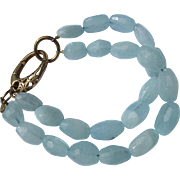 Bracelet of Crystal Beads in Light Aqua Color 925 Latch