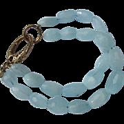 Bracelet of Crystal Beads in Light Aqua Color 925 Latch