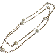 Chain Necklace with Genuine Baroque Pearls