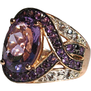 Amethyst Ring in Sterling with Small Diamond and Riveting Rose Gold Color