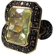 Citrine Ring Sterling Silver Gold Vermeil Brown Stones Size 8