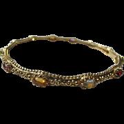 Bangle Bracelet Sterling Silver  Gold Vermeil Multi Colored Gemstones Silver 925