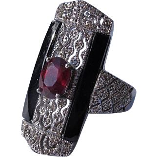 Sterling Silver Ring with Faux Ruby Costume Jewelry Size 8