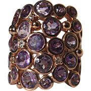 Sterling Silver Ring with Gold Plating with Amethyst and CZ Size 8