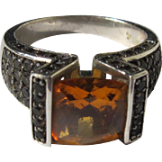 Citrine Costume Ring with Sterling Silver Chocolate Topaz Stones in Pave Style Size 8