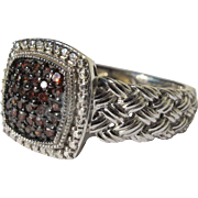 Sterling Silver Ring Braided Band Design with Red Garnets in Pave Style Size 8