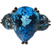 Sterling Silver Ring of Cubic Zirconia Blue Topaz Color
