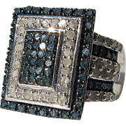 Bling Ring with Simulated Diamonds and Sapphires Costume Cocktail Ring