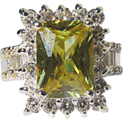 Citrine Ring Emerald Cut  with CZ Diamonds Costume Cocktail Ring in Sterling Silver