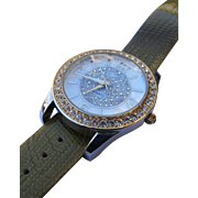 Bling Watch by Waltham with Genuine Leather Band and Fiery Simulated Diamonds