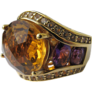 Ring with Sterling Silver Band Gold Plated with Topaz and Amethyst