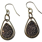 Gold Earrings 14K with Glittery Stone Perfect Italy