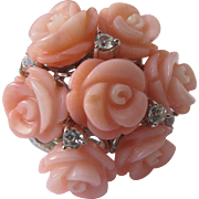 Sterling Silver Ring with Coral Color Flowers and Leaves Size 8