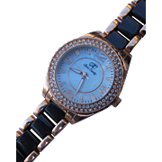 Watch by Arm Candy with Bling Stones MOP Face Copper and Black Band