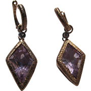 Sterling Silver Earrings Rose Gold Overlay Amethyst Color Stones