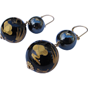 Onyx Earrings with Gold Dragons Sterling Wires Pierced