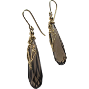 Italian Made Earrings Faceted Smokey Topaz with 14K Gold Filigree Never Worn